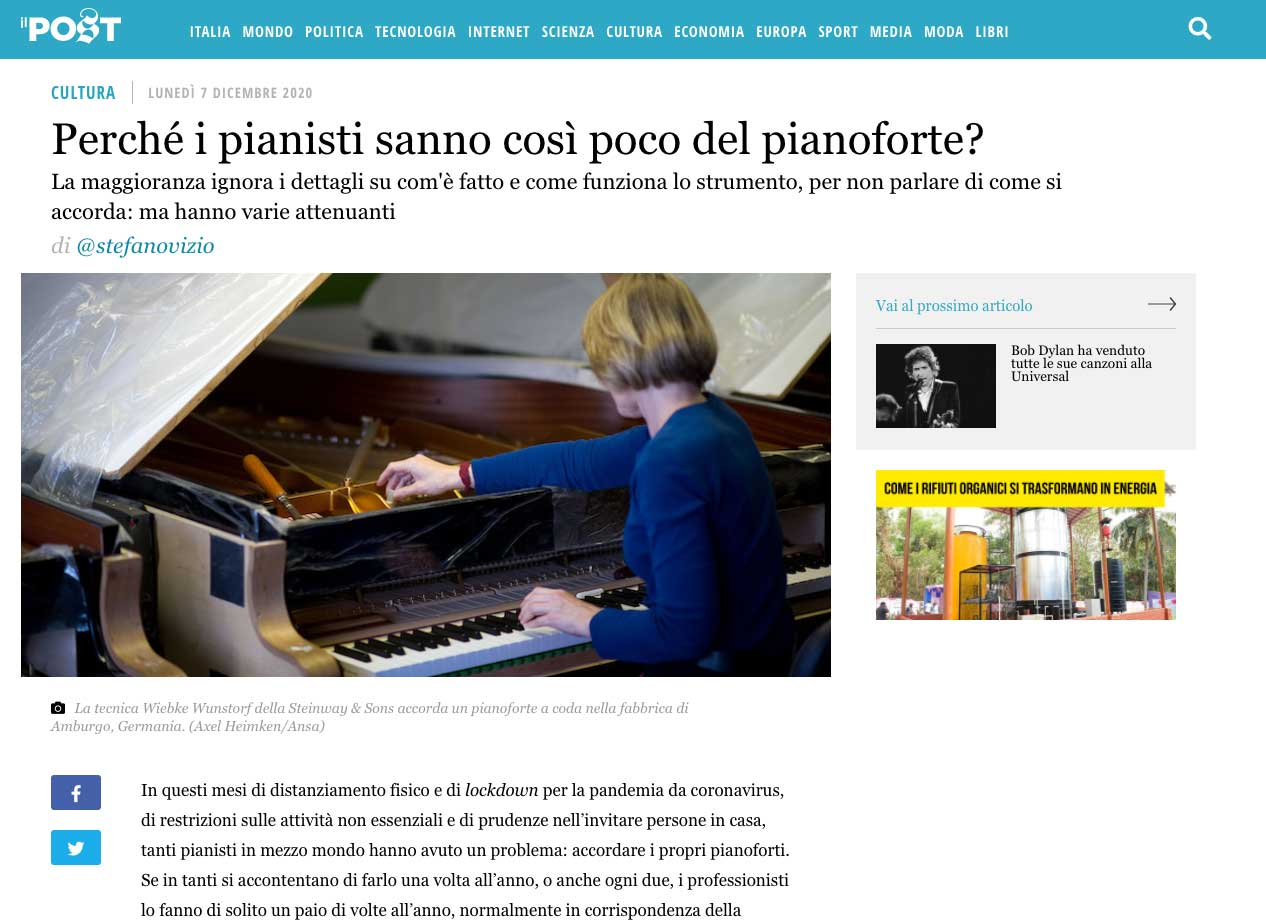schermata dell'articolo usicot sul Post con un'intervista a Giuseppe Sciurti sull'accordatura del pianoforte